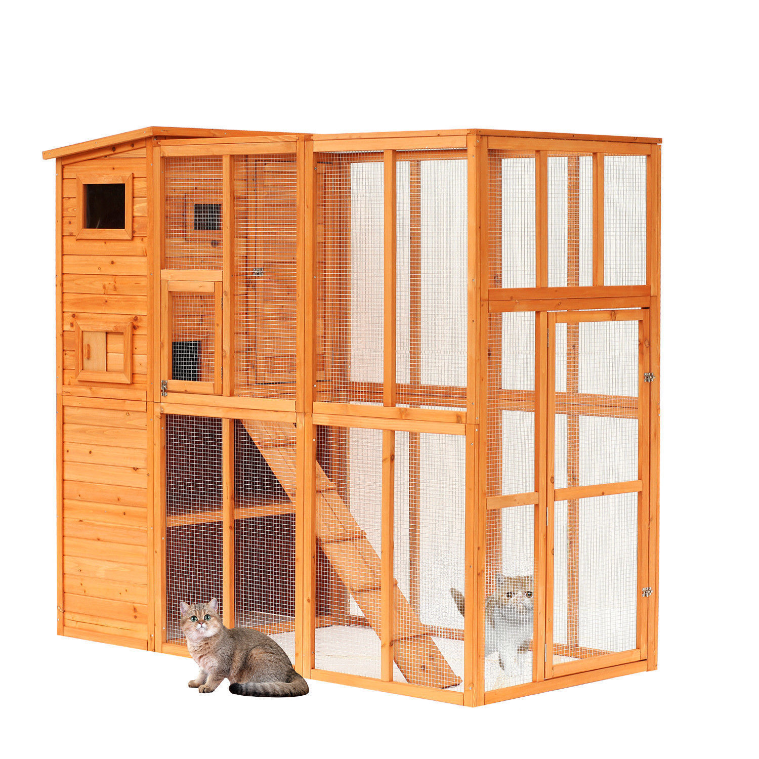 Wooden Cat Home Enclosure Pet House Shelter Cage