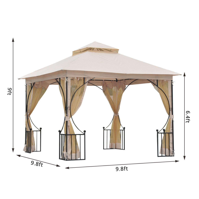 10 X 10 Beige Gazebo Hardtop Canopy Metal Frame W Mesh