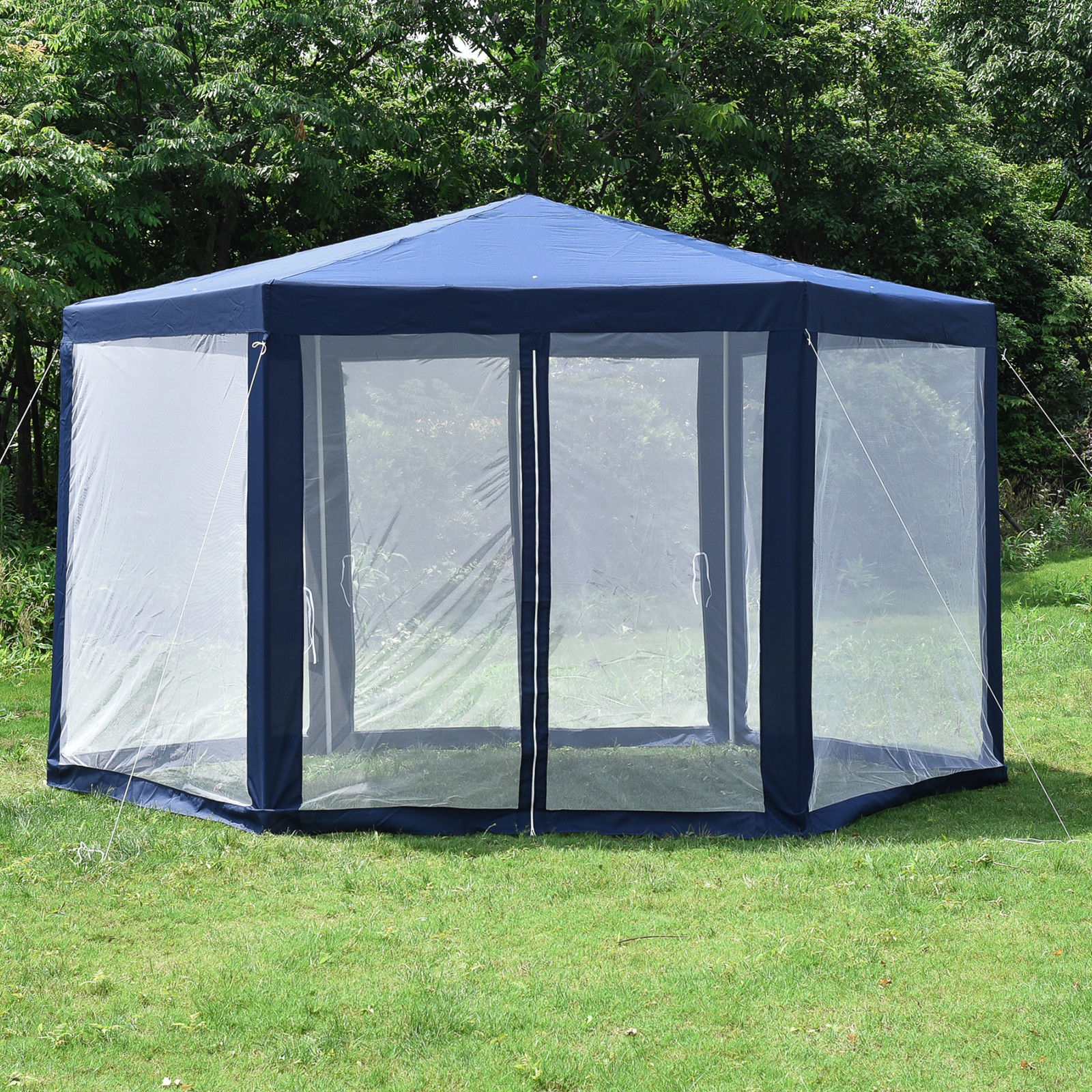 Hexagonal Gazebo Outdoor Patio Canopy With Mosquito Net