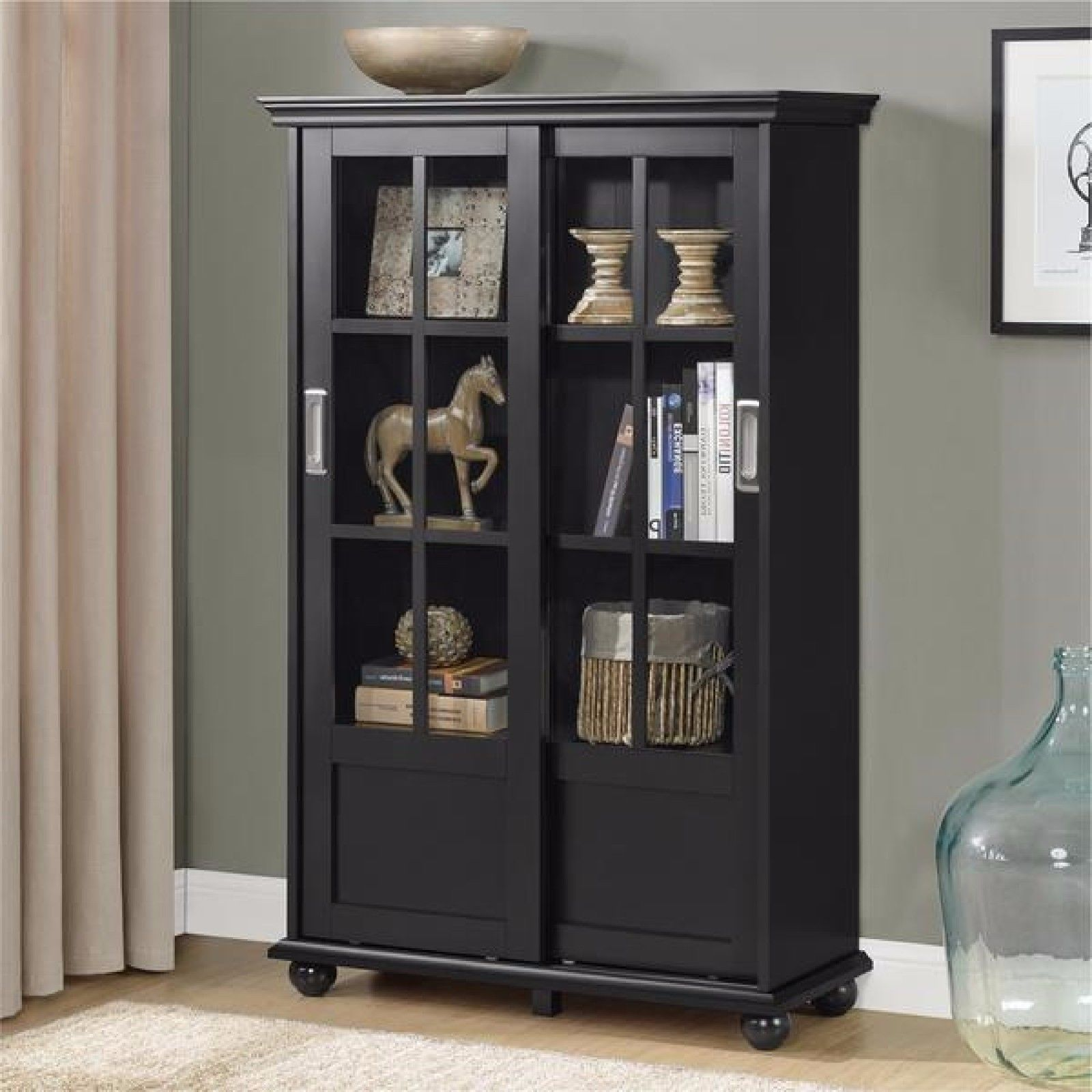 Glass Display Cabinet Bookshelf W Sliding Glass Doors Black